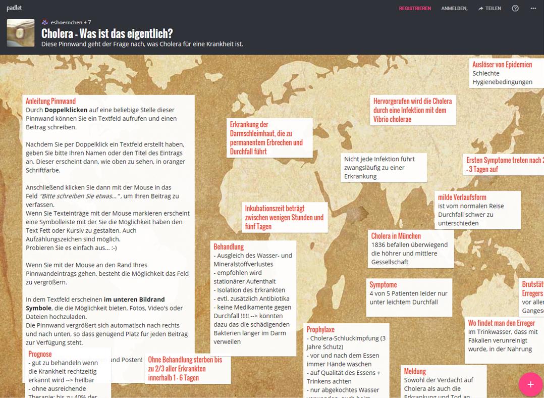 Ein erstelltes Padlet (virtuelles Mindmap/ Pinwand) zum Thema Cholera.